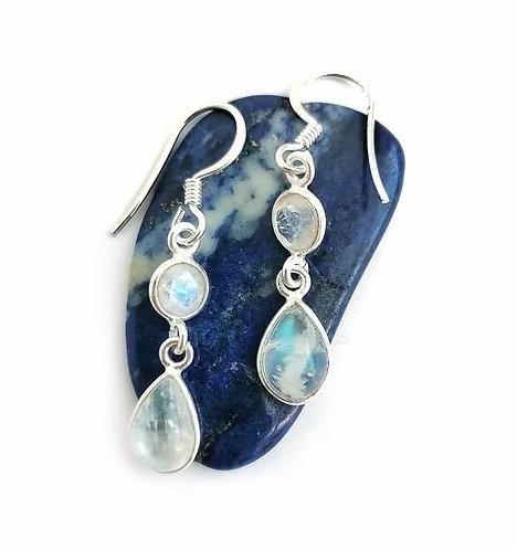 Silver & moonstone double drop earrings