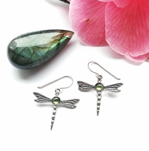 Silver & peridot dragonfly earrings