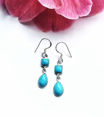 Silver & turquoise square teardrop earrings