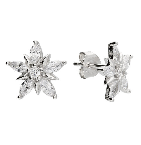 Silver & crystal encrusted star studs