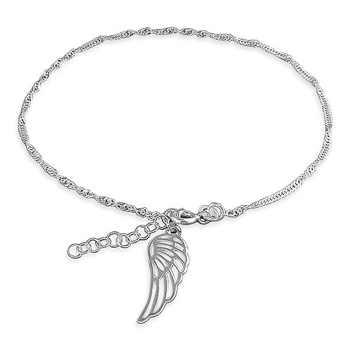 Silver angel wing anklet