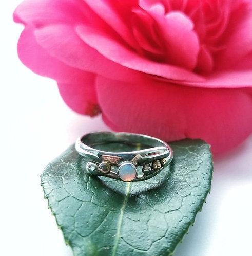 Silver opalite gold detail dot ring - Size N