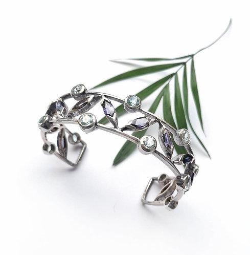 Silver blue topaz & Iolite gemstone bangle