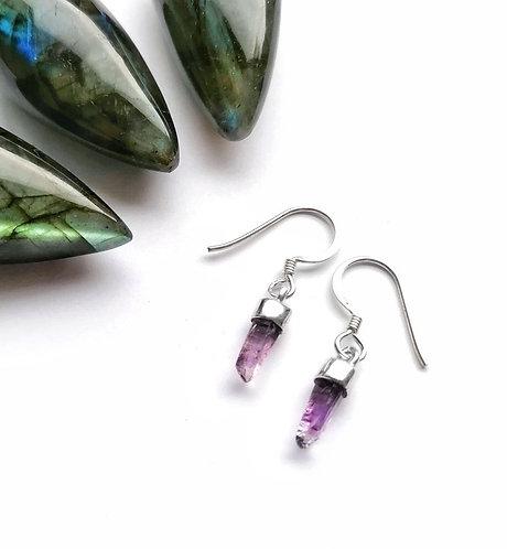 Silver & amethyst point drop earrings