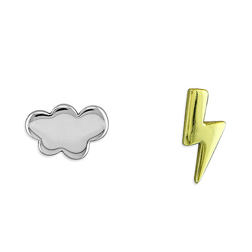 Silver lightning & cloud studs