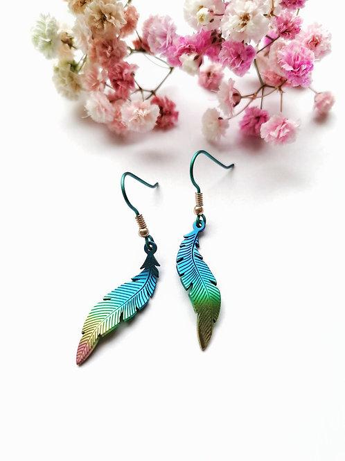 Titanium rainbow feather earrings