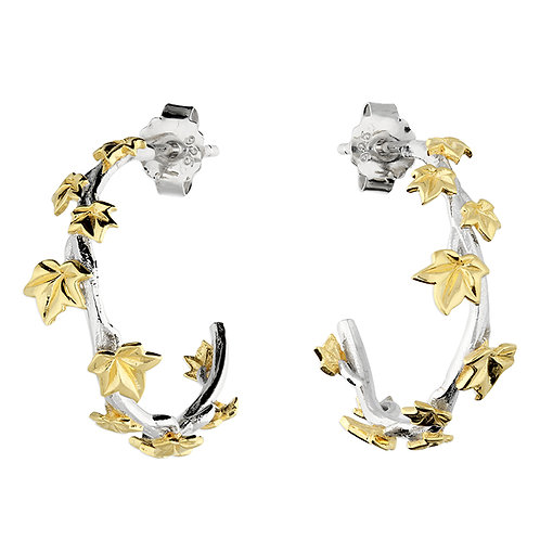 Silver & gold vermeil leaf hoop earrings
