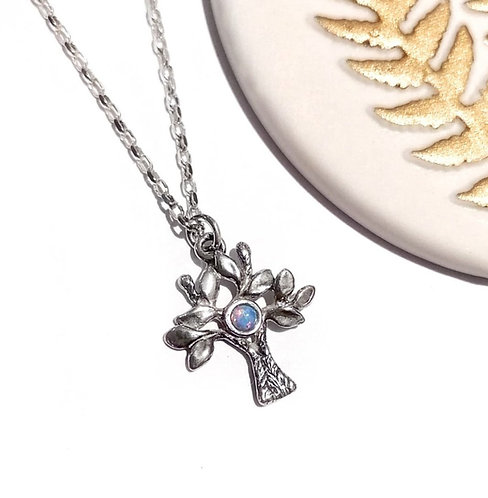 Silver & Opalite tree necklace