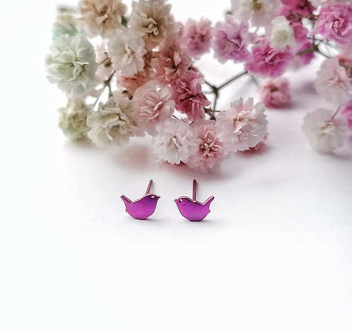 Titanium mini pink bird stud earrings