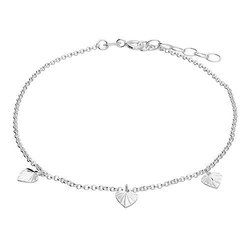 Silver triple heart detail anklet