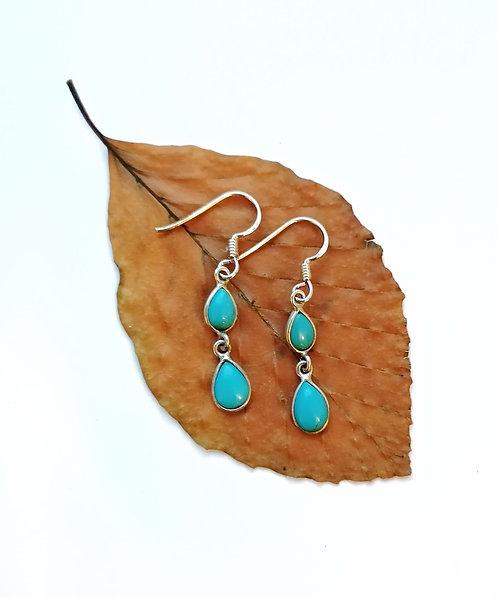 Silver & Turquoise douple teardrop earrings
