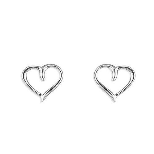 Silver cut out heart studs