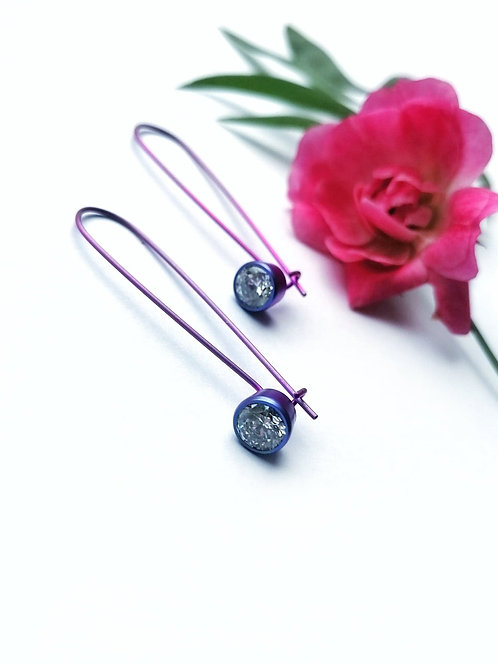 Titanium crystal purple earrings