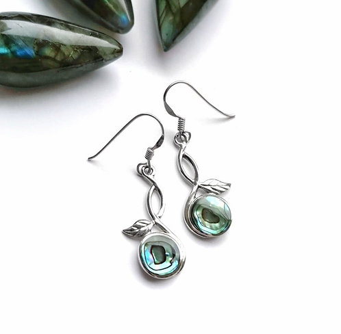 Silver & abalone entwined leaf earrings