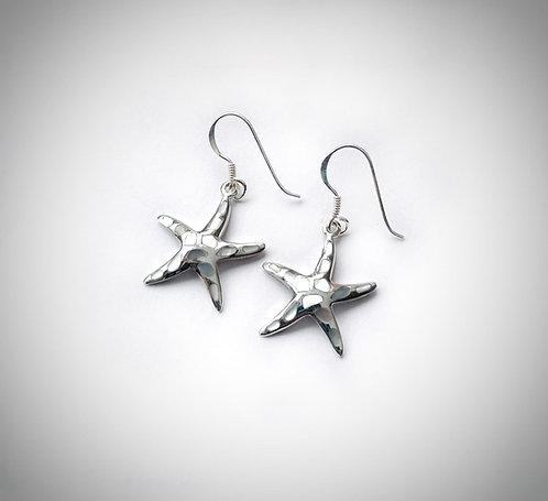Silver & mother of pearl starfish earrings