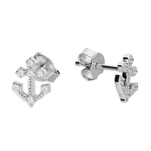 Silver & crystal anchor stud earrings