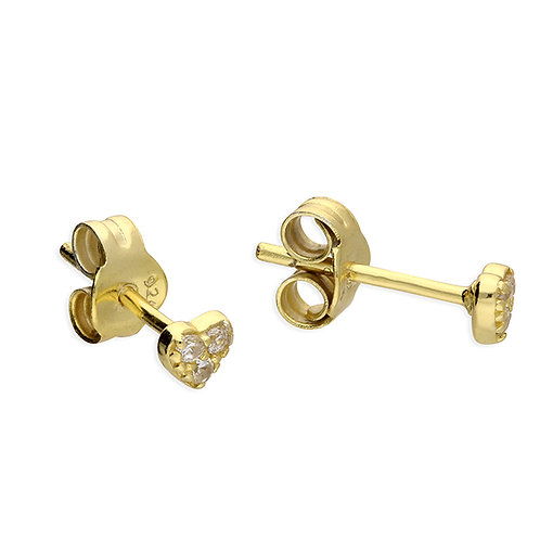 Silver & gold vermeil crystal mini heart studs