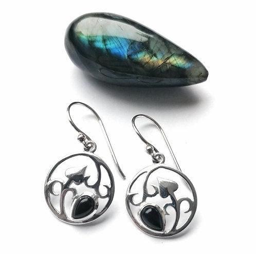 Silver & black onyx round leaf detail earrings