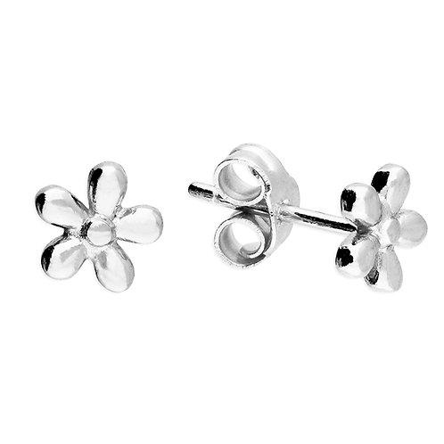 Silver 5 petal daisy studs