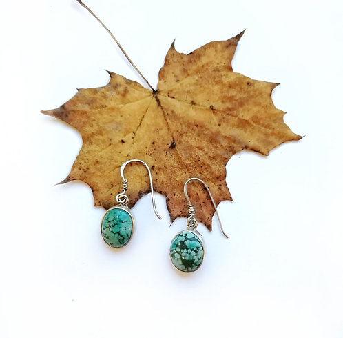 Silver & veined Turquoise oval earrings