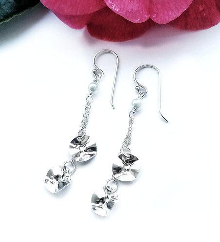 Silver & pearl cascade earrings