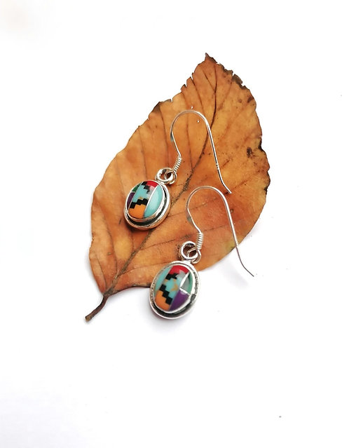 Silver & multi gemstone earrings