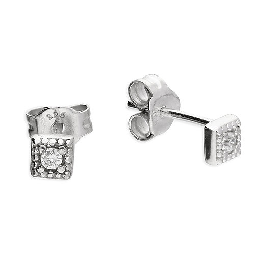 Silver & crystal square studs