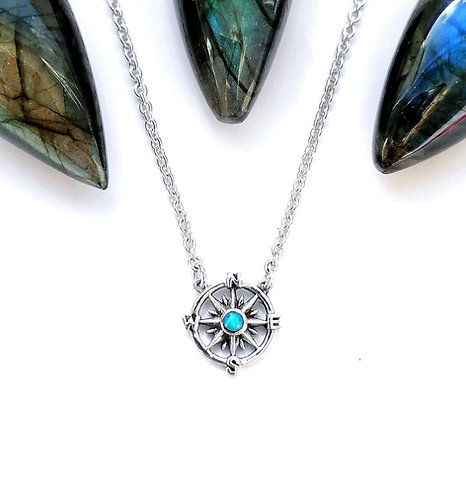 Silver & opalite compass necklace