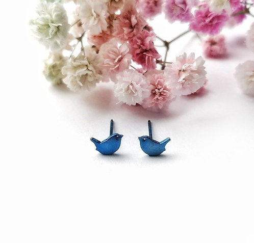 Titanium mini royal blue bird stud earrings