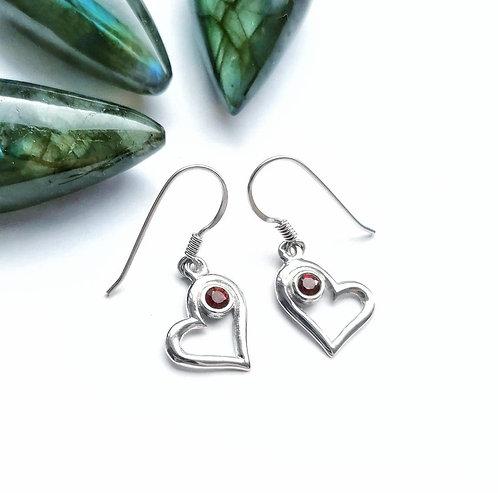 Silver & garnet pretty heart earrings
