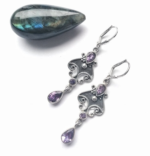 Silver beautifully ornate amethyst earrings