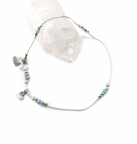 Luxury silver & opalite anklet with hammered heart detail