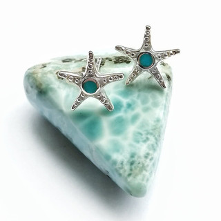 Silver & turquoise starfish stud earrings