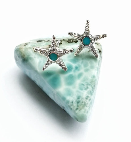 Silver & turquoise starfish stud earrings