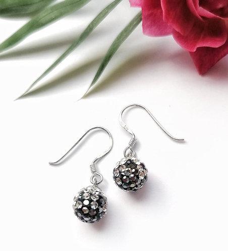 Silver sparkling cascade grey crystal ball earrings