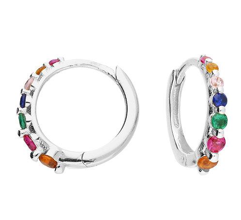 Silver rainbow crystal huggie hoops