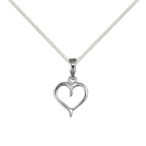 Silver cut out heart necklace