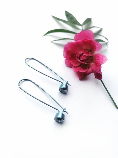 Titanium crystal blue earrings