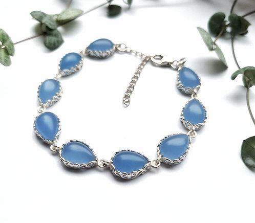 Silver & Chalcedony detailed bracelet