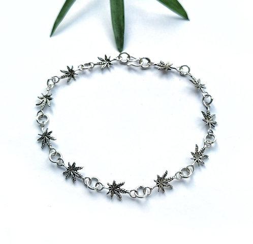 Silver cannabis leaf bracelet
