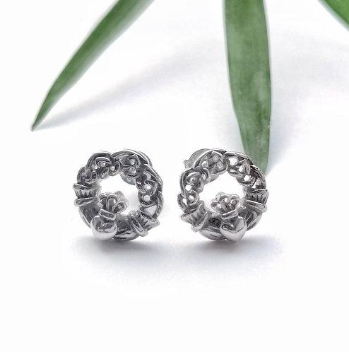 Silver celtic claddagh stud earrings