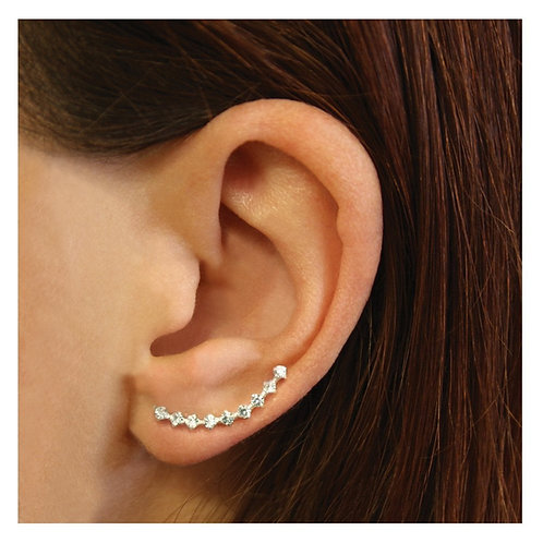 Silver & crystal slim ear climbers