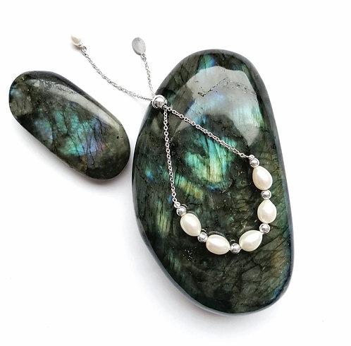 Silver & freshwater pearl slider bracelet