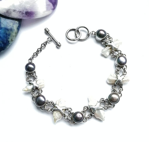 Silver & pearl ornate bracelet