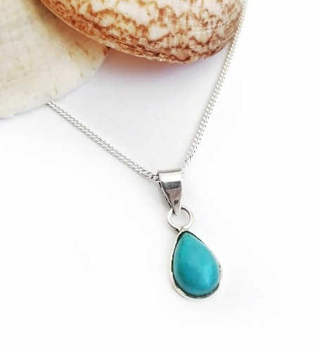 Silver & turquoise classic teardrop necklace