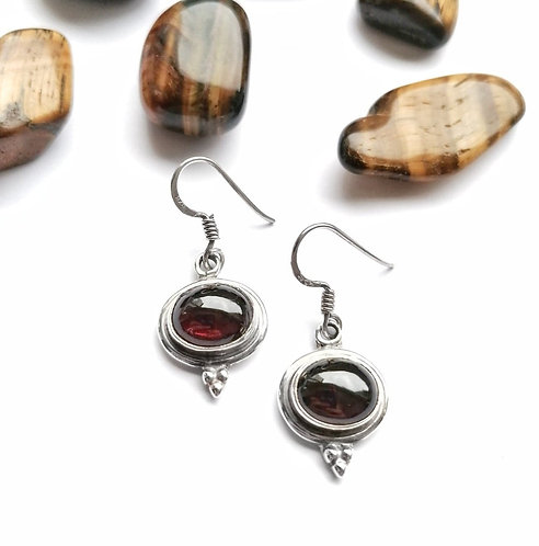 Silver & garnet detail earrings