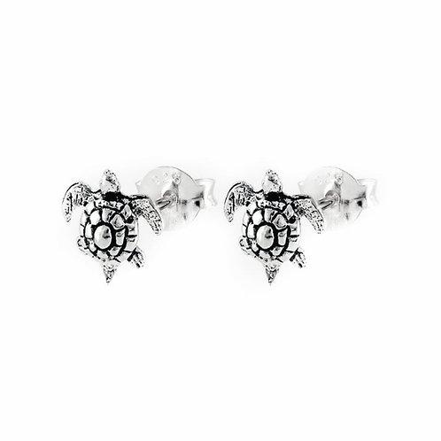 Silver turtle stud earrings