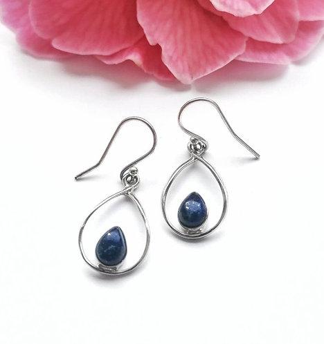 Silver teardrop within a teardrop lapis lazuli earrings