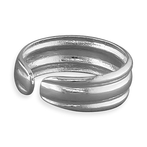 Silver double line toe ring