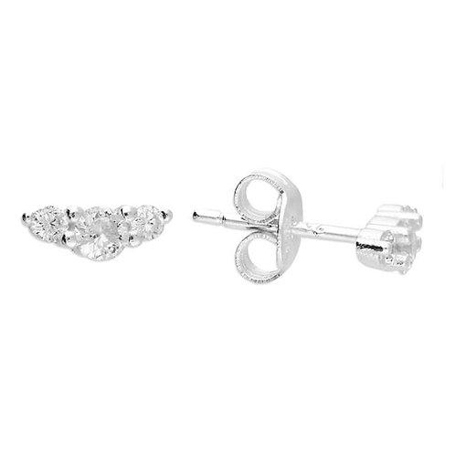 Sterling Silver & Crystal triple stud earrings.